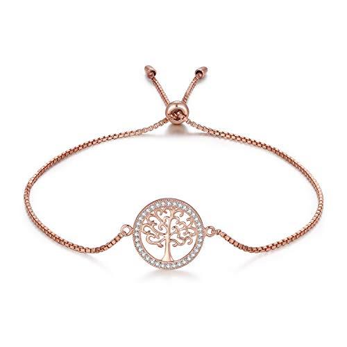 MEGA CREATIVE JEWELRY Damen Armband Rosegold Lebensbaum aus 925 Sterling Silber mit Kristalle Schmuck...