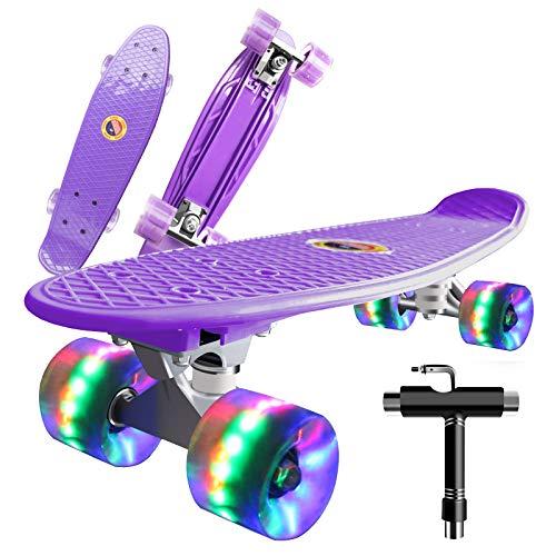 Saramond Skateboard komplett 55 cm Mini-Cruiser Retro-Skateboard für Kinder Jungen Mädchen Jugendliche...