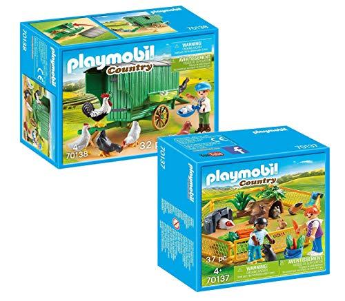 Playmobil Bauernhof 2-teiliges Set: 70137 Kleintiere im Freigehege und 70138 Mobiles Hühnerhaus