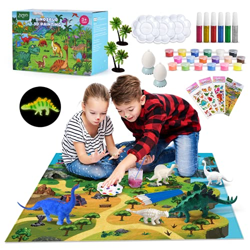 Joyjoz Kunst Bastel-Sets für Kinder - 60 Stck. 3D-Dinosaurier-Spielzeug Malsets für Kinder Kreativität...