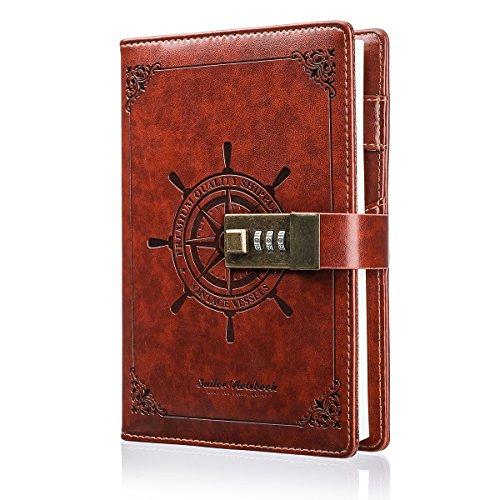 Notizbuch, MOHOO Tagebuch Password Notebook Vintage-PU-Leder-Tagebuch Password Diary Book Notizblock mit...