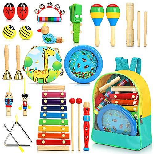 Jojoin 24 Stück Musikinstrumente für Kinder, Holz Percussion Set, Einzigartiges Ocean Wave Bead Drum,...