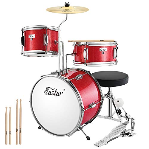 Eastar Schlagzeug Kinder Komplettset 3-teiliges Kinder Drumset 14 Zoll/35.5 cm EDS-180Re mit Thron,...