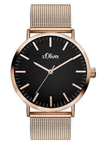 s.Oliver Damen Analog Quarz Armbanduhr mit Edelstahlarmband SO-3327-MQ