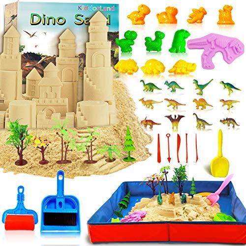 KiddosLand Magic Sand Kit Für Kinder Spielsand Baukasten 3lbs Sand mit Faltbarer Sandkasten Dinosaurier...