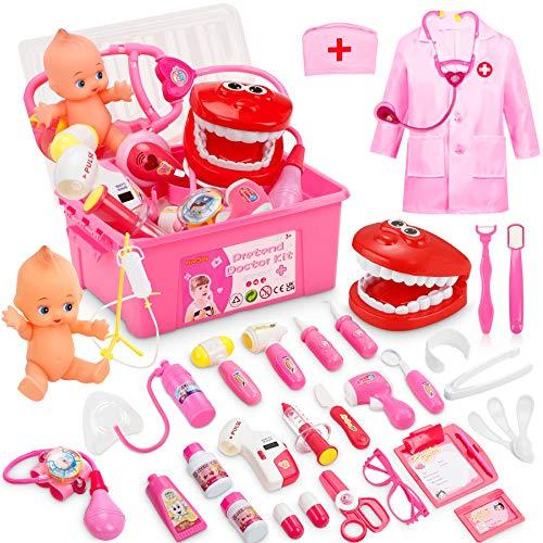 Fivejoy 43 Teile Arztkoffer Kinder, Doktorkoffer Kinder Rollenspiel Spielzeug Mit Rosa Arztkittel Und...