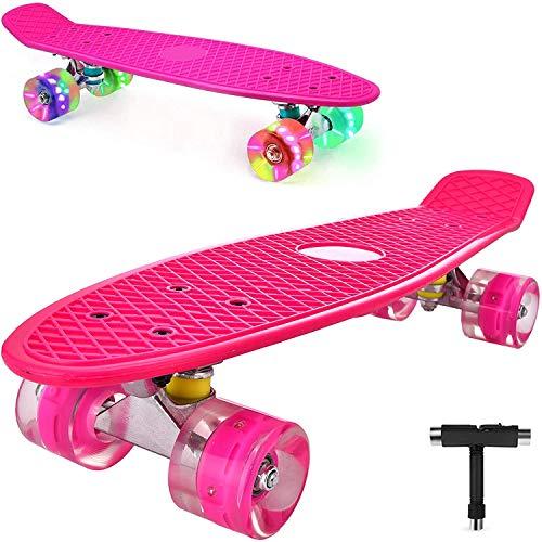 DaddyChild Mini Cruiser Skateboard Retro Komplettboard, 56cm Vintage Skate Board mit Kunststoff Deck und...