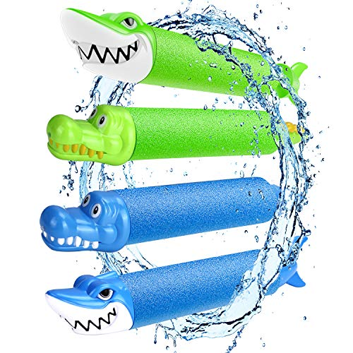 Magicfun Wasserpistole für Kinder, 4 Stück Tierform Wasserpistole aus Schaumstoff, Wasser Spielzeug Set...