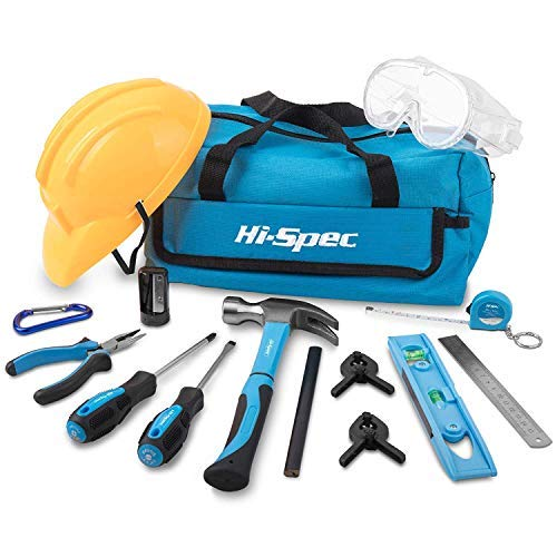 Hi-Spec Kinder-Werkzeugset: 17 echte Handwerkzeuge mit Sicherheitsbrille und Helm