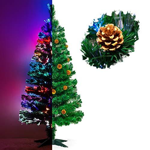 Künstlicher Glasfaser Weihnachtsbaum 150 cm mit LED Beleuchtung und echten vergoldete Zapfen Christbaum...