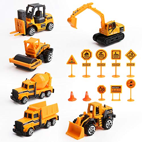 Vegena Bagger Sandkasten Spielzeug, 16 Stück Baufahrzeuge Set Betonmischer Lastwagen Kinderspielzeug...