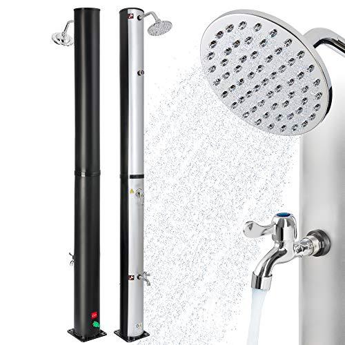 Arebos Solardusche | 40 Liter | 220 cm | mit integriertem Thermometer | Silber-Schwarz | runder Duschkopf...