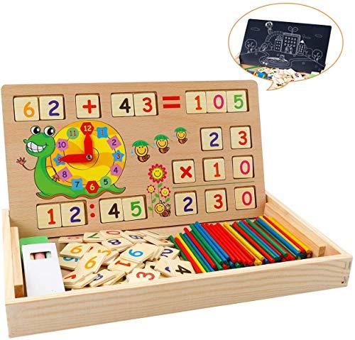 Babyhelen Montessori Mathe Spielzeug aus Holz Lernbox Zahlenlernspiel mit Zeichnung Holzbrett...