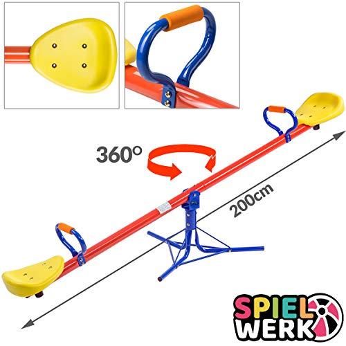 Spielwerk Wippe für Kinder Dämpfer & gepolsterte Griffe 200x67x70cm bis 70kg 360°drehbar Schaukelwippe...