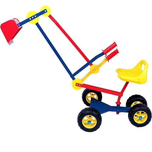 Deuba Kinderbagger Sitzbagger 120x35x80cm 360° drehbar Kippschaufel Sitz und Reifen Sandkastenbagger...