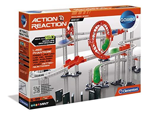 Clementoni 59126 Galileo Science – Action & Reaction Maxi Set, Modellbausatz für eine Kugelbahn,...
