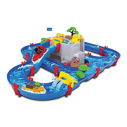 Aquaplay 8700001542 - Wasserbahn Set 'Bergsee', 42-teilig
