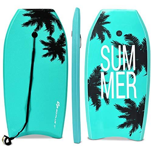 COSTWAY Bodyboard, Schwimmbrett Schwimmboard, Surfbrett Kinder, Surfboard, Sup-Board 104x52x6cm (Grün)