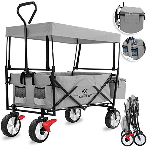 KESSER® Bollerwagen faltbar mit Dach Handwagen Transportkarre Gerätewagen | inkl. 2 Netztaschen und...