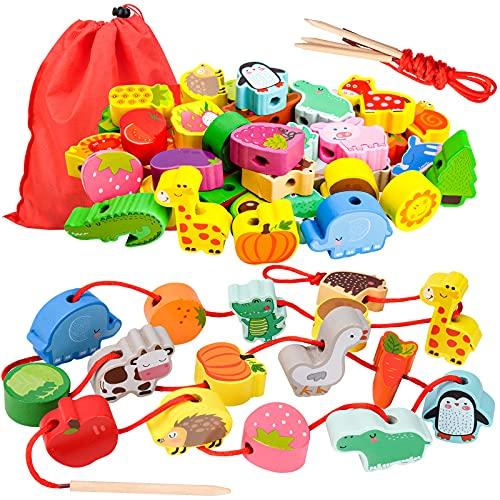 Geschenk für 1-3 Jährige Mädchen Junge, Holzspielzeug Threading Toy Geburtstagsgeschenk für 1 2 3...