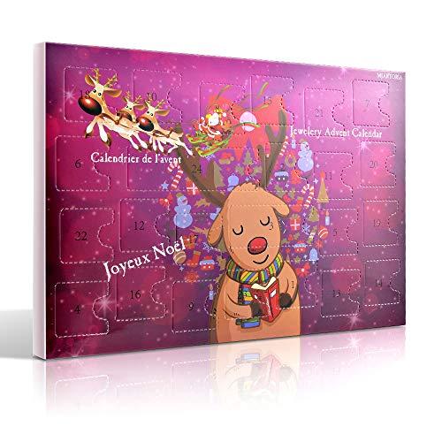 MJARTORIA Schmuck Adventskalender 2021 Weihnachtskalender Damen Kinder Mädchen Adventszeit mit 24...