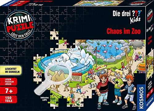 Kosmos 697990 - Krimi Puzzle: Die drei ??? Kids - Chaos im Zoo, Leuchtet im Dunkeln. 150 Teile, inkl....