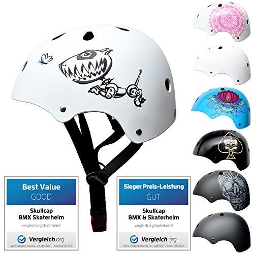 SkullCap® Skaterhelm Kinder Weiß Robodog - Fahrradhelm Jungen ab 6 Jahre Größe 53-55 cm - Scoot and...