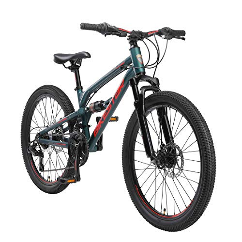 BIKESTAR Kinder Fahrrad Aluminium Fully Mountainbike 21 Gang Shimano, Scheibenbremse ab 9-14 Jahre | 24...