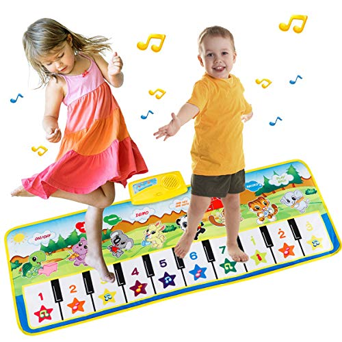 EXTSUD Piano Mat Tanzmatten Klaviermatte Musikmatte Kinder 8 Tierstimmen Klaviertastatur Spielzeug Musik...