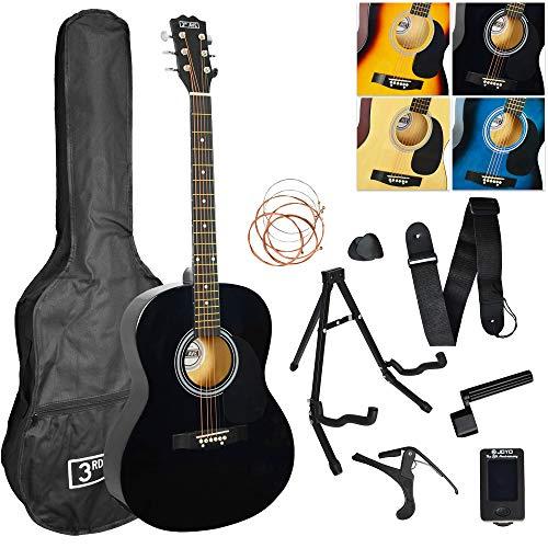 3rd Avenue 4/4 Akustikgitarren-Set für Anfänger mit Gigbag, Plektren, Ersatz-Saiten, Ständer, Gurt,...