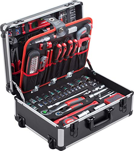 Meister Werkzeugtrolley 156-teilig - Werkzeug-Set - Mit Rollen - Teleskophandgriff / Profi Werkzeugkoffer...