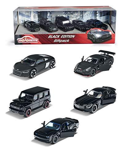 Majorette Black Edition 5er Geschenkset, 5 Fahrzeuge, Spielzeugautos mit Federung, Modelle: Audi R8,...