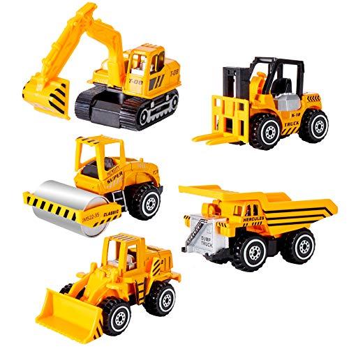HERSITY Mini Bagger LKW Baufahrzeuge Spielzeug Set Metall Baustellen Fahrzeuge Spielzeugautos Deko für...