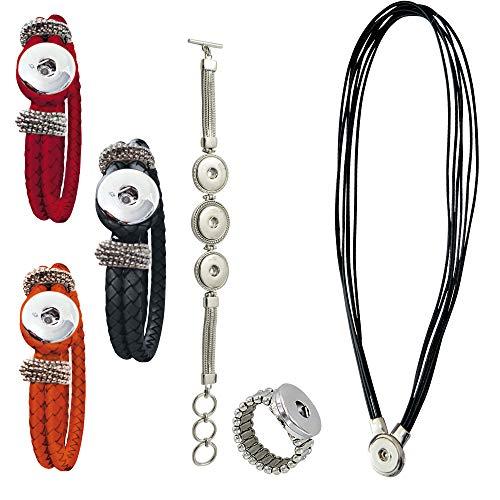 Sunsa Damen Mädchen, Click-Buttons Druckknöpfe Chunks Set für: 1x Kette, 4X Armband, 1x Ring. klick...