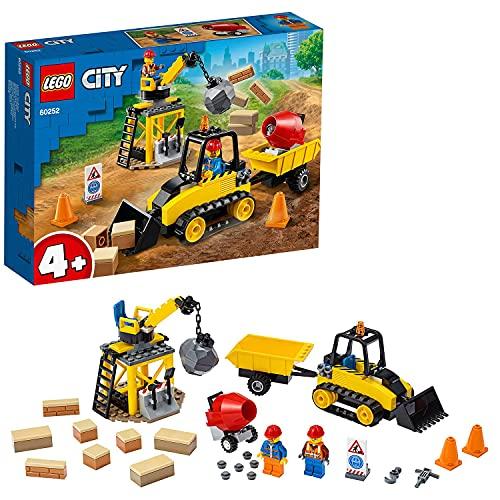 LEGO 60252 City Bagger auf der Baustelle Spielzeug mit Starter-Steinen und Kran, für Vorschulkinder ab 4...