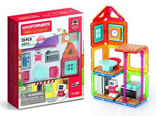 MAGFORMERS 705010 Minibot's Kitchen Magnetic World Magnetisches Spielzeug, Mehrfarbig, 28.7 x 6.5 x 24.7