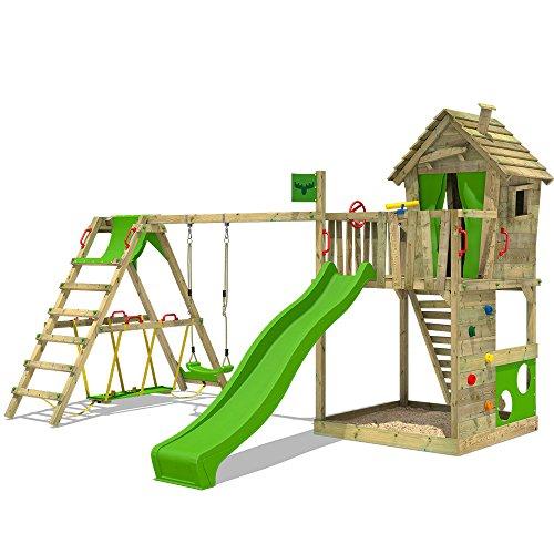 FATMOOSE Spielturm HappyHome Hot XXL Stelzenhaus Baumhaus Klettergerüst mit Schaukel, Surfanbau und...