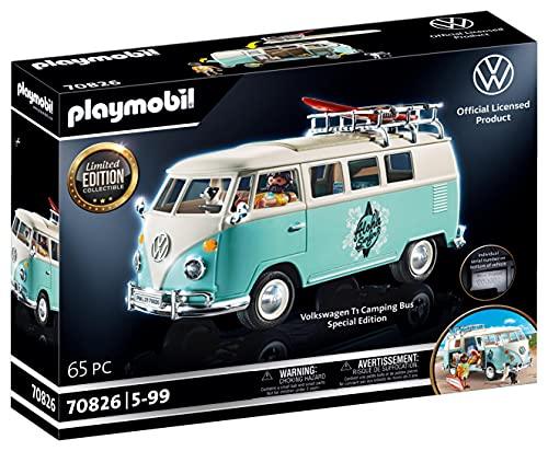 PLAYMOBIL 70826 Volkswagen T1 Camping Bus als hellblauer Surfer-Van, Special Edition für Fans und...
