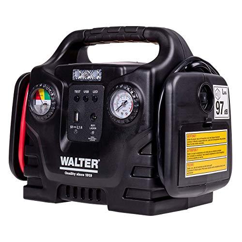 Walter Autostartgerät mit Kompressor/Autobatterie Starthilfe/inklusive 12 Volt Anschluss für...