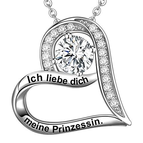 LOVORDS Damen Halskette Gravur 925 Sterling Silber Herz Kette Anhänger Liebesgeschenke für Frauen...