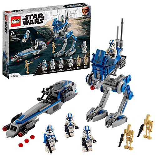 LEGO 75280 Star Wars Clone Troopers der 501. Legion, Bauset mit Kampfdroiden und at-RT Walke...