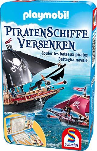 Schmidt Spiele 51429 Playmobil, Piratenschiffe versenken, Bring Mich mit Spiel in der Metalldose, Bunt