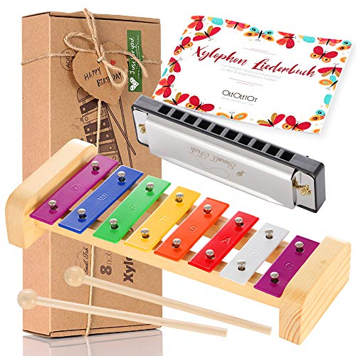 Holz Xylophon für Kinder - mit Mundharmonika und Lieder Buch: Perfekt Glockenspiel f. Kleine Musiker -...