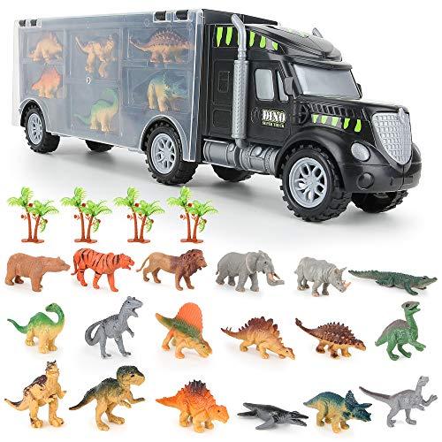 BeebeeRun Dinosaurier Transporter Truck mit 22 Spielzeug Dinosaurier Figuren Tierfiguren Set,Spielzeug ab...