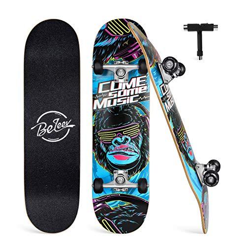 BELEEV Skateboard Erwachsene 31x8 Zoll Komplette Cruiser Skateboard für Kinder Jugendliche Anfänger,...