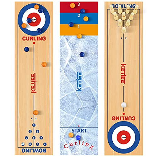 KETIEE 3 in 1 Curling and Shuffleboard Table-Top Game, 120x30cm Tisch Curling Spiel Mini...