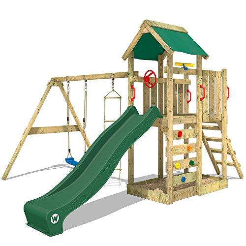 WICKEY Spielturm MultiFlyer Kletterturm Spielplatz Garten mit Schaukel, Rutsche und Kletterwand, grüne...