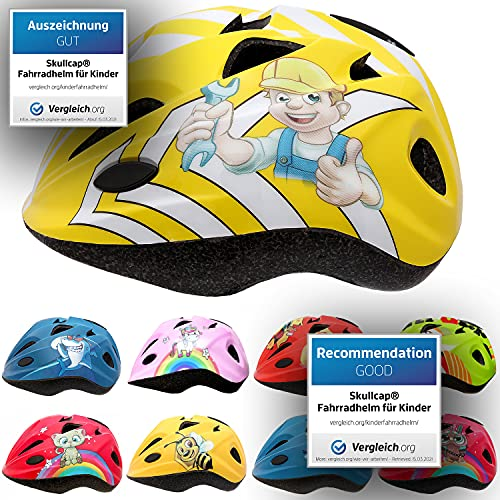 Skullcap® Fahrradhelm für Kinder Helm für City-Roller, Longboard, Scooter - Gelber Helm für Inliner,...