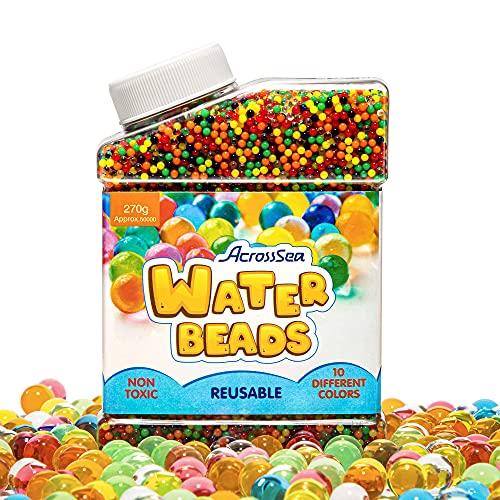 AcrossSea Wasserperlen (50,000 Perlen), Gelperlen Bunte, Wasserkugeln Spielzeug, Wasserperlen für...