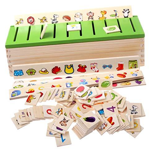 F Fityle Montessori Holz Steckspiel Sortierspiel Kinderspiele Kinder Spiele Spielzeug (Chinesisch und...